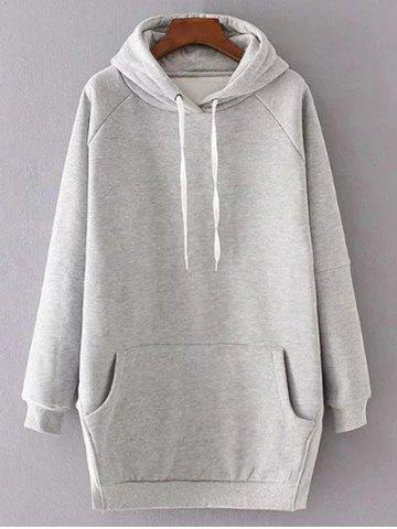 Chic Long Sleeve Solid Color Drawstring Hoodie LIGHT GRAY M