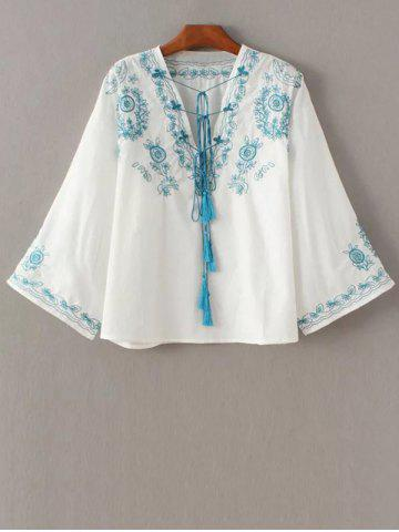 Store V Neck Retro Embroidered Blouse