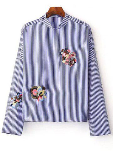 Stand Neck Long Sleeve Striped Embroidered Blouse