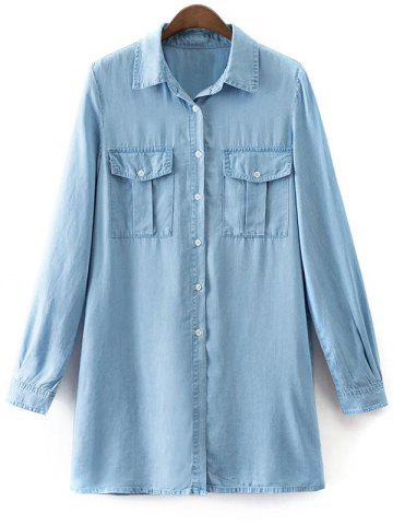 Chic Shirt Neck Long Sleeve Denim Shirt Dress