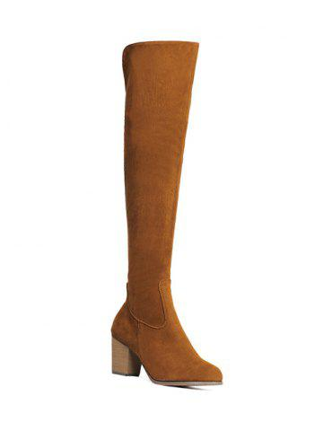 Unique Zipper Flock Chunky Heel Thing High Boots BROWN 39