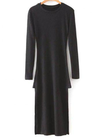Sale Long Sleeve Side Slit Midi Knit Dress BLACK L
