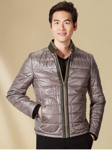 Shops Stand Collar Panel Padded Jacket ODM Designer - L GRAY Mobile