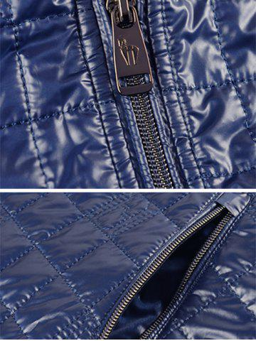 New Geometric Zip Up Padded Jacket ODM Designer - 3XL PURPLISH BLUE Mobile