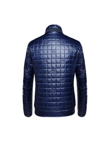Hot Geometric Zip Up Padded Jacket ODM Designer - 3XL PURPLISH BLUE Mobile