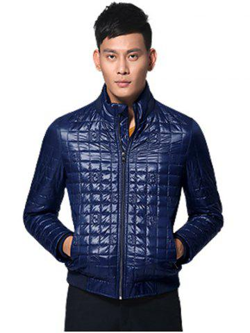 Chic Geometric Zip Up Padded Jacket ODM Designer - 3XL PURPLISH BLUE Mobile