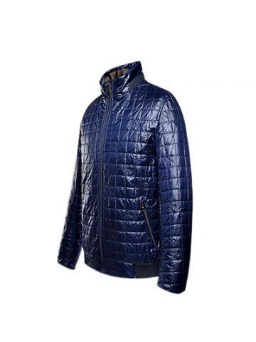 Shop Geometric Zip Up Padded Jacket ODM Designer - 3XL PURPLISH BLUE Mobile