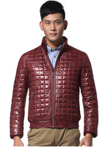 Affordable Geometric Zip Up Padded Jacket ODM Designer - 3XL WINE RED Mobile