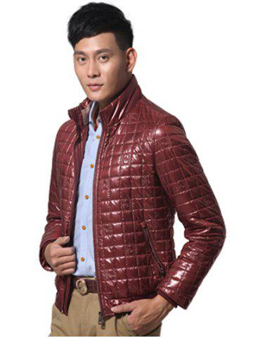 Store Geometric Zip Up Padded Jacket ODM Designer - 2XL WINE RED Mobile
