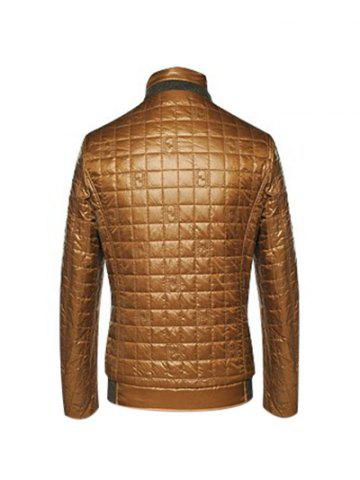 Discount Geometric Zip Up Padded Jacket ODM Designer - 2XL BROWN Mobile