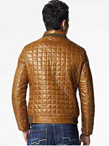 Trendy Geometric Zip Up Padded Jacket ODM Designer - 2XL BROWN Mobile
