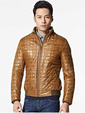New Geometric Zip Up Padded Jacket ODM Designer - 2XL BROWN Mobile
