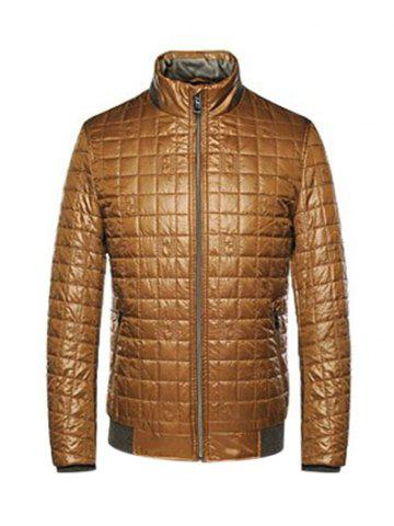 Discount Geometric Zip Up Padded Jacket ODM Designer - L BROWN Mobile