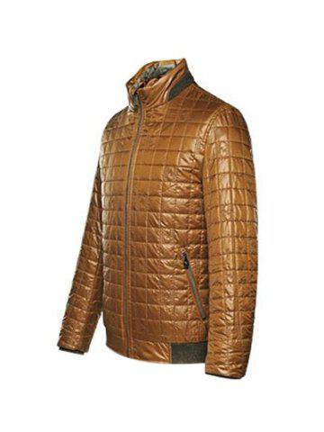 Outfits Geometric Zip Up Padded Jacket ODM Designer - L BROWN Mobile