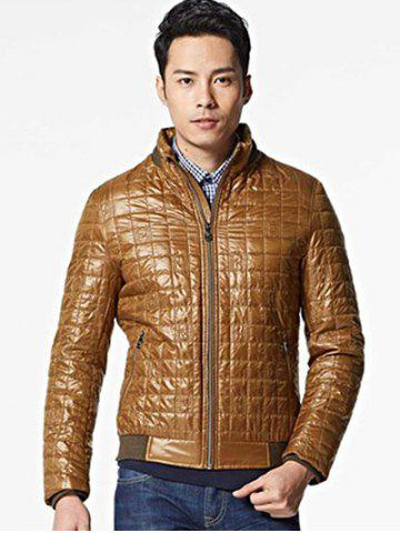 Outfit Geometric Zip Up Padded Jacket ODM Designer - S BROWN Mobile