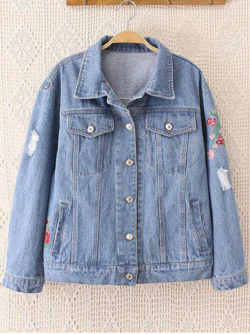 Trendy Floral Embroidered Frayed Jean Jacket