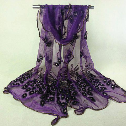 Unique Ethnic Peacock Feather Velvet Covered Edge Soft Scarf DEEP PURPLE