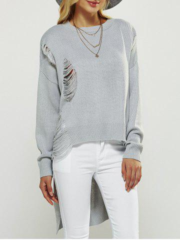 Asymmetrical Ripped Sweater - Light Gray - One Size