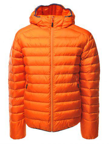 Couleur Spliced ​​Zipper-Up Hooded Down Jacket Orange 2XL