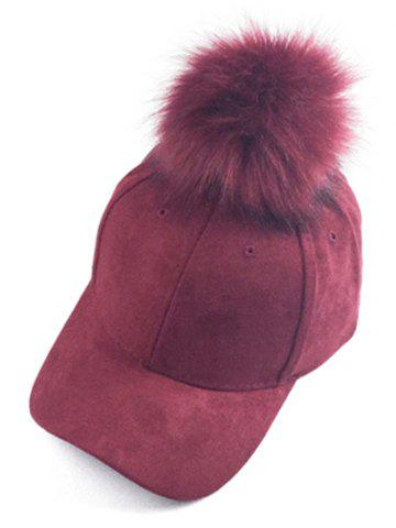Outfit Casual Big Fuzzy Ball Faux Suede Baseball Hat - WINE RED  Mobile