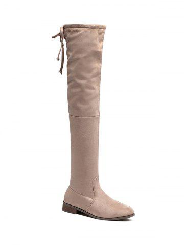 Trendy Zipper Flat Heel Thing High Boots APRICOT 39