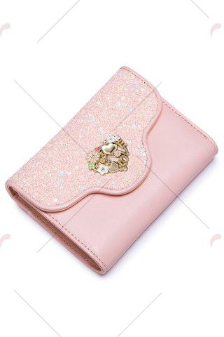 Affordable Floral Heart Sequins Small Wallet - PINK  Mobile