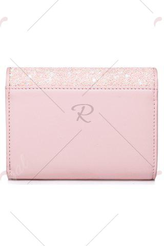 New Floral Heart Sequins Small Wallet - PINK  Mobile
