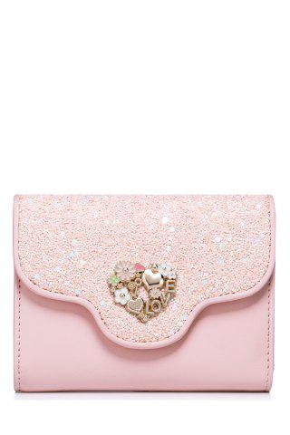 Latest Floral Heart Sequins Small Wallet PINK