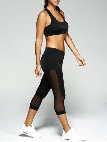 Store Patched Crop Top and Leggings Sport Suit - S BLACK Mobile