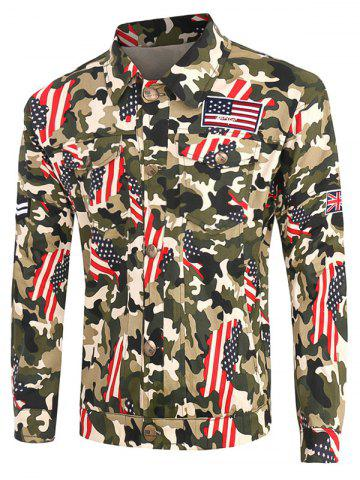 Plus Size Turn-Down Collar Camouflage Star and Stripe Print Long Sleeve Cargo Jacket - COLORMIX - 5XL