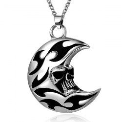 Punk Enamel Moon Skull Head Pendant Necklace - SILVER GRAY