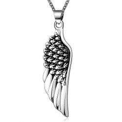 Punk Stoving Varnish Middle Wing Pendant Necklace - SILVER