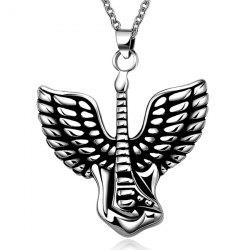 Punk Steel Color Flying Wings Pendant Necklace - SILVER