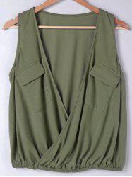 Flap Pockets Low Cut Blouse - ARMY GREEN M