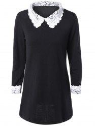 Lace Spliced Flat Collar Casual Dress Fall - BLACK