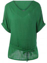 Plus Size V Neck Belted Loose Linen Blouse - GREEN