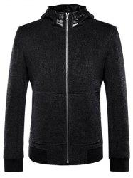 Zip Up Jacket manches longues à capuche Drawstring - Noir L