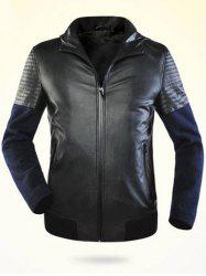 Zippered Splicing Faux Leather Hooded Jacket ODM Designer - BLACK