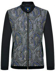 Zip Up Printed Long Sleeves Jacket ODM Designer - BLACK 2XL