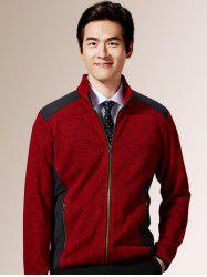 Zippered Couleur Splicing Napping Jacket - Rouge