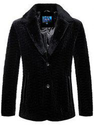 Rhombus Pattern Fur Lapel Long Sleeve Coat ODM Designer - BLACK