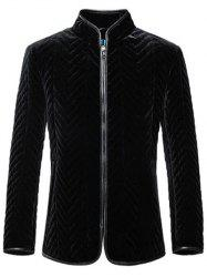 Zigzag Seamed Zip Up Leather Trim Coat ODM Designer - BLACK
