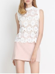 Laciness Floral Hollow Out Tank Top