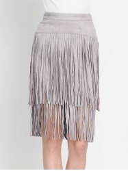 High Waist Tiered Fringed Suede Skirt - GRAY