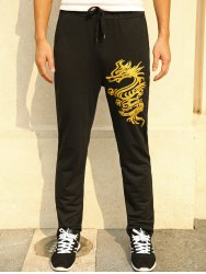 Lace-Up Golden Dragon Print Straight Leg Pants - BLACK