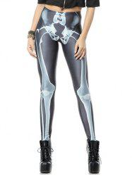 Skeleton Print Stretchy Leggings - COLORMIX