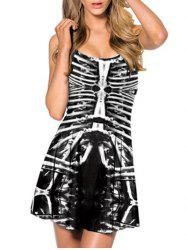 Skeleton Print Mini Racerback Tank Dress - WHITE AND BLACK