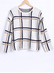 Plaid Pattern Loose Fitting Knitted Pullover -