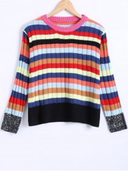 Colorized Striped Ribbed Knitted Pullover -