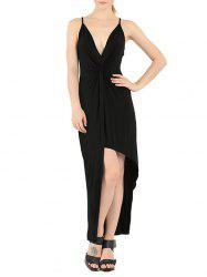 Plunge Knotted Slip Long Night Out Dress - BLACK